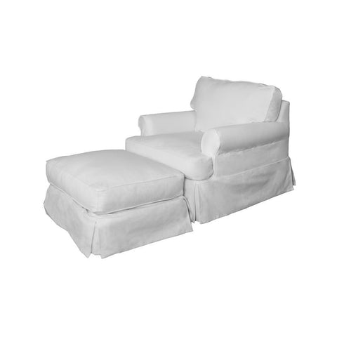 Sunset Trading Horizon Slipcovered Chair & Ottoman - Performance White
