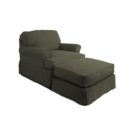 Sunset Trading Horizon Slipcovered Chair & Ottoman in Forest Green