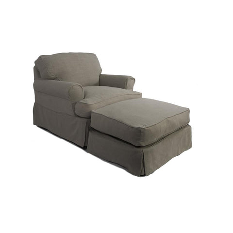 Sunset Trading Horizon Slipcovered Chair & Ottoman in Light Gray