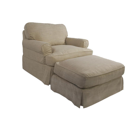 Sunset Trading Horizon Slipcovered Chair & Ottoman in Linen