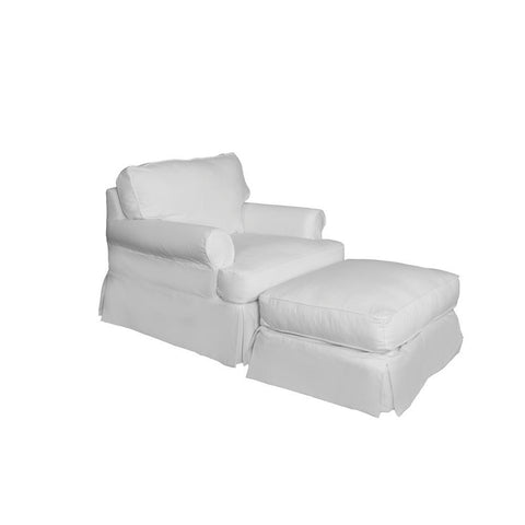 Sunset Trading Horizon Slipcovered Chair & Ottoman in Warm White