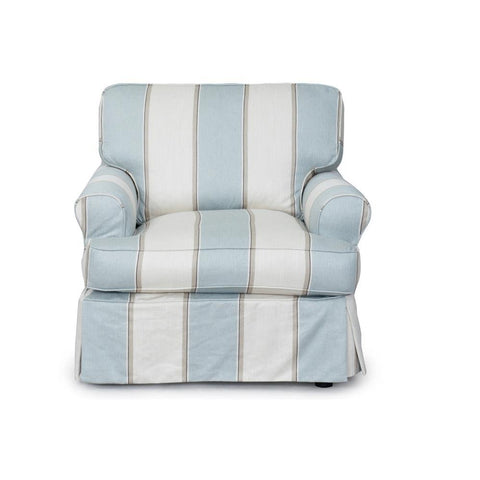 Sunset Trading Horizon Slipcovered Chair in Beach House Blue