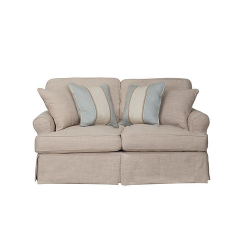 Sunset Trading Horizon Slipcovered Loveseat in Linen