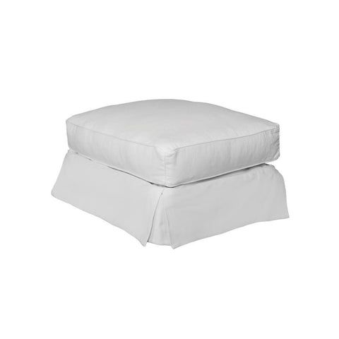 Sunset Trading Horizon Slipcovered Ottoman in Warm White