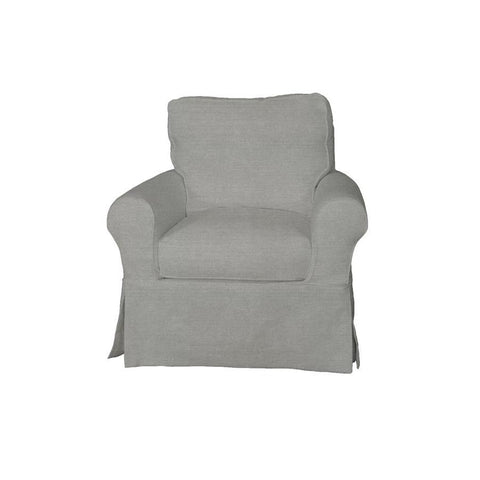 Sunset Trading Horizon Slipcovered Swivel Chair - Performance Gray