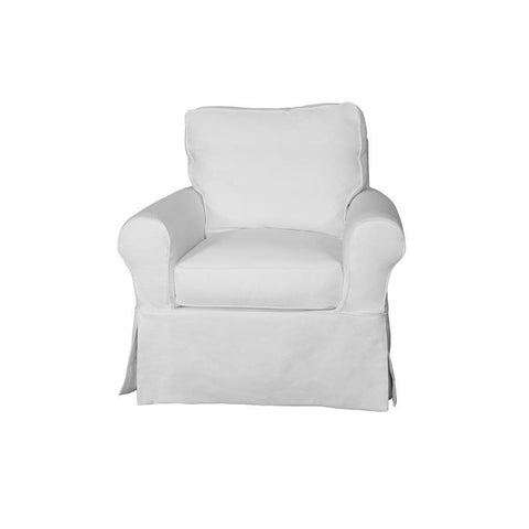 Sunset Trading Horizon Slipcovered Swivel Chair - Performance White