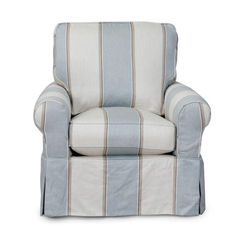Sunset Trading Horizon Swivel Chair With Slipcover in Beach House Blue