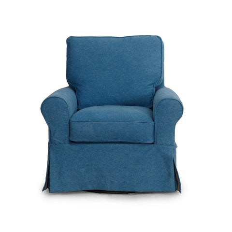 Sunset Trading Horizon Swivel Chair With Slipcover in Indigo Blue