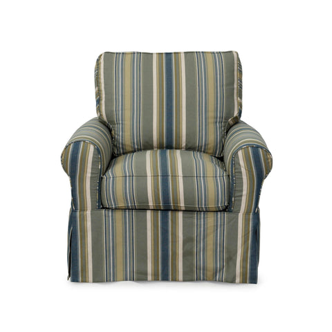 Sunset Trading Horizon Swivel Chair With Slipcover in Nantucket Stripe
