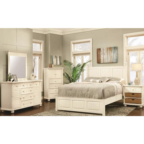 Sunset Trading Ice Cream At The Beach 5 Piece Queen Bedroom Set in Antique White/Cream