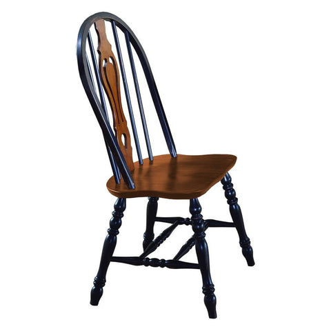 Sunset Trading Keyhole Dining Chair in Distressed Antique Black w/Cherry Seat