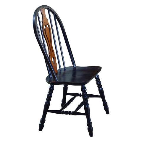 Sunset Trading Keyhole Dining Chair in Distressed Antique Black