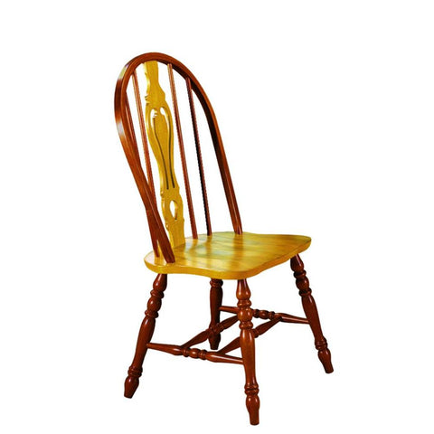 Sunset Trading Keyhole Dining Chair in Light Oak w/Nutmeg Accents