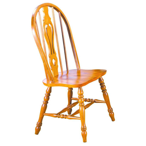 Sunset Trading Keyhole Dining Chair in Light Oak