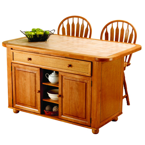 Sunset Trading Light Oak Kitchen Island with Two Swivel Stools