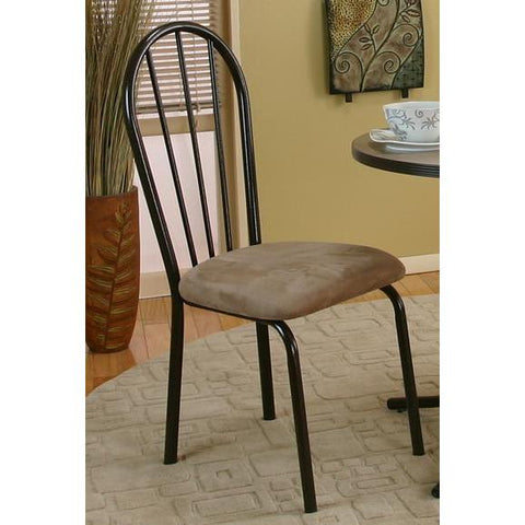 Sunset Trading Linen Dining Chair in Brown w/Beige Seat
