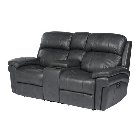 Sunset Trading Luxe Leather Reclining Loveseat w/Power Headrest & Console