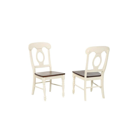 Sunset Trading Napoleon Dining Chair in Antique White & Chestnut