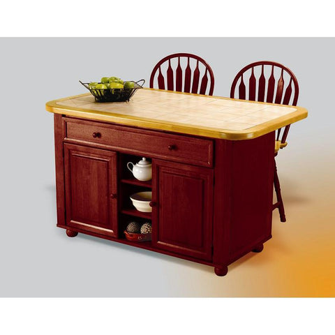 Sunset Trading Nutmeg Kitchen Island with Two Swivel Stools