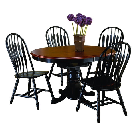Sunset Trading Pedestal Table in Antique Black and Four Antique Black Comfort Back Chairs