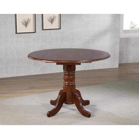 Sunset Trading Round Drop Leaf Dining Table in Distressed Chestnut