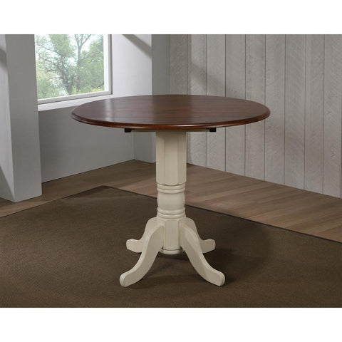 Sunset Trading Round Drop Leaf Pub Table in Antique White w/Chestnut Top