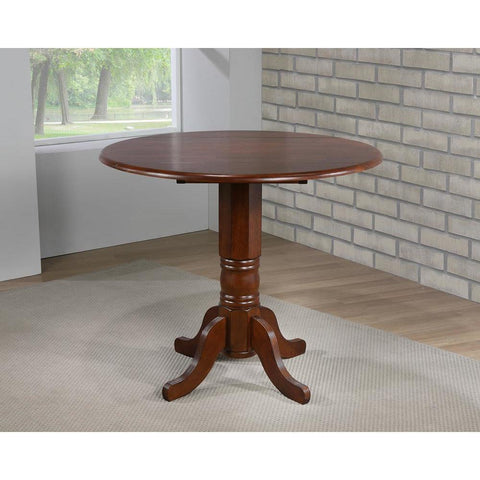 Sunset Trading Round Drop Leaf Pub Table in Distressed Chestnut