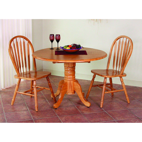 Sunset Trading Round Table with Drop Leaf Top in Light Oak Finish