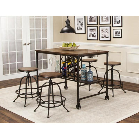 Sunset Trading Rustic Elm Industrial 5 Piece Pub Table Set w/Built-In Wine Rack