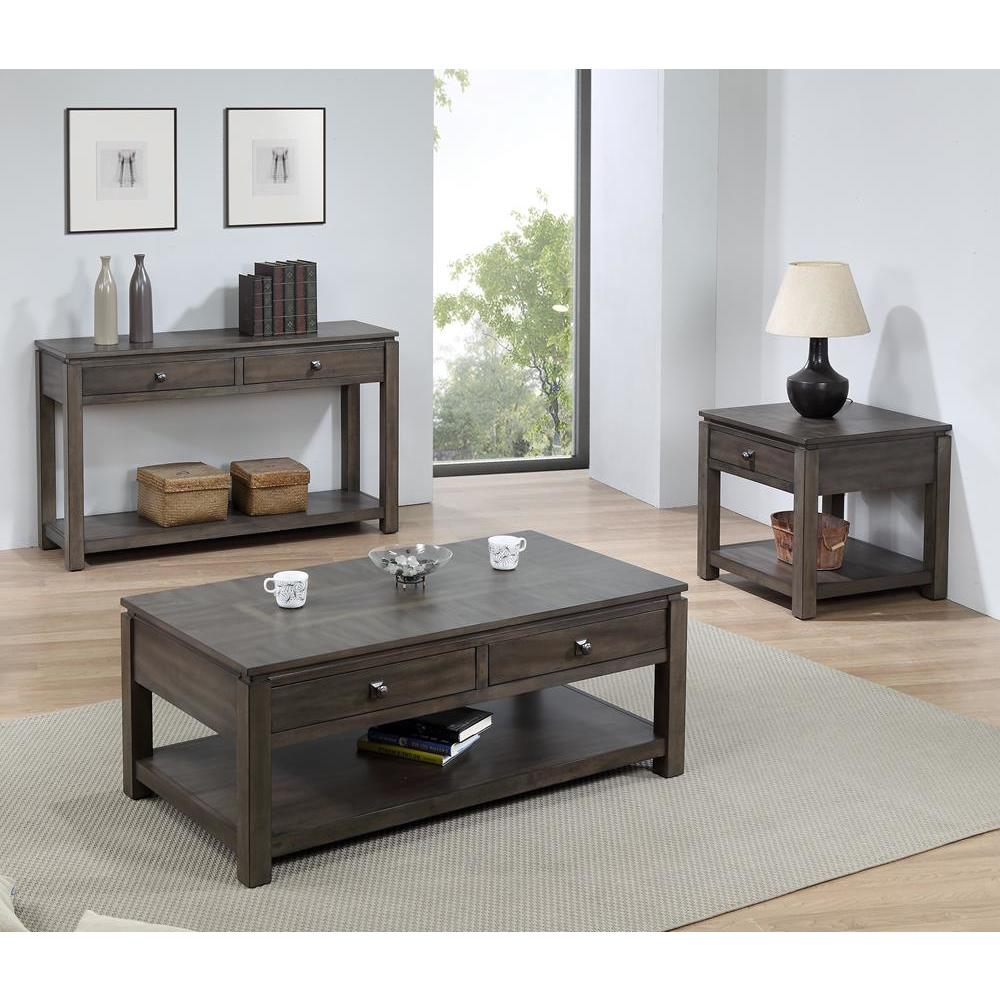 Sunset Trading Shades of Gray 3 Piece Living Room Table Set w/Drawers &  Shelves in Weathered Grey