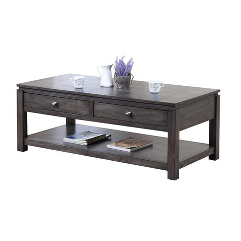 Sunset Trading Shades of Gray Coffee Table w/Drawers & Shelf in Weathered Grey