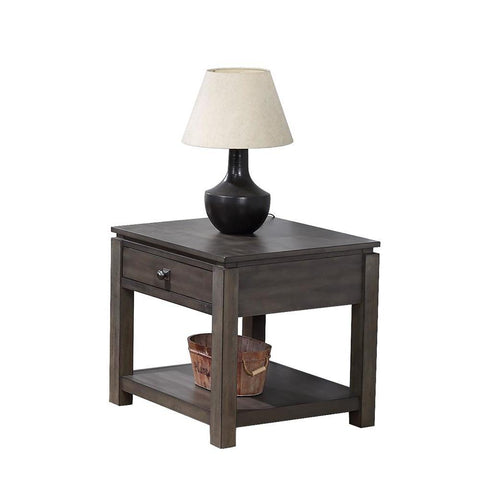Sunset Trading Shades of Gray End Table w/Drawer & Shelf in Weathered Grey