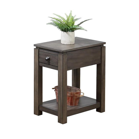 Sunset Trading Shades of Gray Narrow End Table w/Drawer & Shelf in Weathered Grey