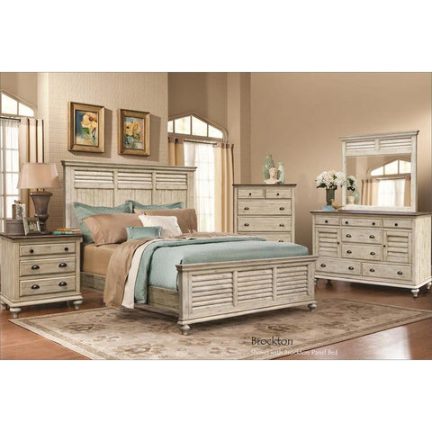 Sunset Trading Shades of Sand 5 Piece King Bedroom Set in Antique White/Natural Walnut