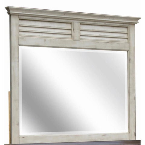 Sunset Trading Shades of Sand Shutter Mirror in Antique White/Natural Walnut