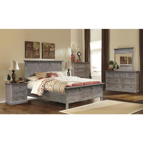 Sunset Trading Solstice Grey 5 Piece King Bedroom Set in Weathered Gray & Brown