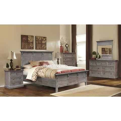 Sunset Trading Solstice Grey 5 Piece Platform Bedroom Set in Weathered Gray & Brown