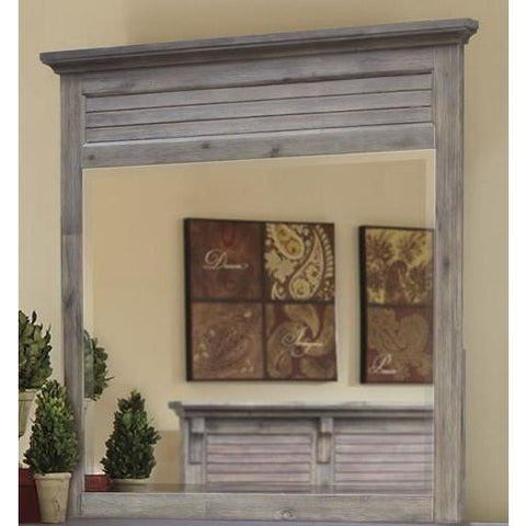 Sunset Trading Solstice Grey Shutter Mirror in Weathered Gray & Brown