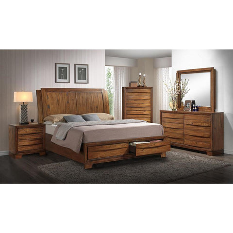 Sunset Trading Sonoma Storage 5 Piece King Bedroom Set in Warm Chestnut