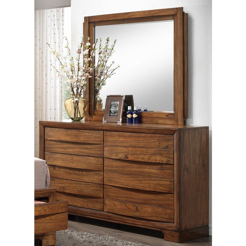 Sunset Trading Sonoma Storage Dresser & Mirror in Warm Chestnut