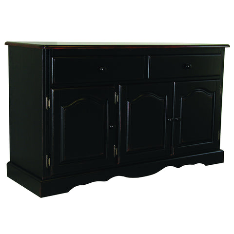 Sunset Trading Three Door, 2 Drawer Buffet in Antique Black