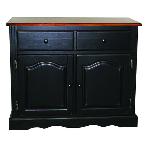 Sunset Trading Two Door, One Drawer Buffet in Antique Black with Cherry Finish Top