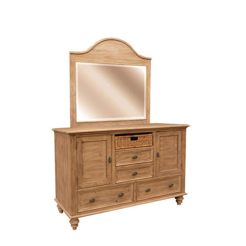 Sunset Trading Vintage Casual Dresser & Mirror in Plantation Maple