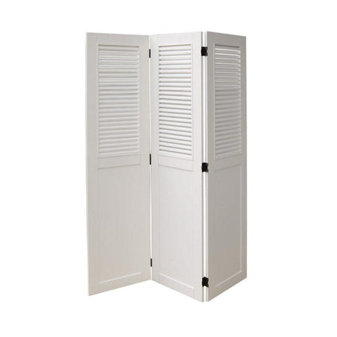 Sunset Trading White Shutter Wood Room Divider in White
