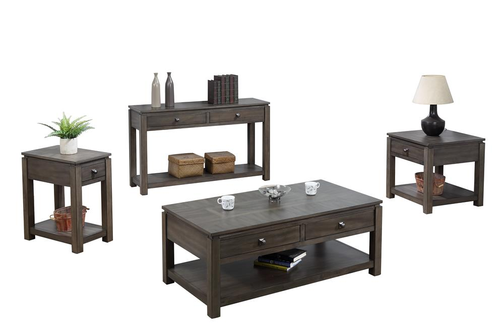 Sunset Tradingshades Of Gray 3 Piece Coffee Table Set Wdrawers