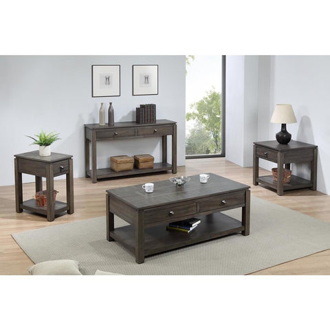 Sunset TradingShades of Gray 3 Piece Coffee Table Set w/Drawers & Shelves in Weathered Grey