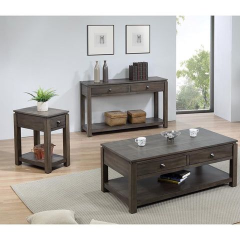 Sunset TradingShades of Gray 3 Piece Living Room Table Set w/Drawers & Shelves in Weathered Grey
