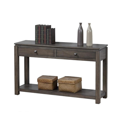 Sunset TradingShades of Gray Sofa Console w/Drawers & Shelf in Weathered Grey