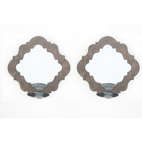 Screen Gems Wood Candle Holder With Mirror Set Of Two WD-041