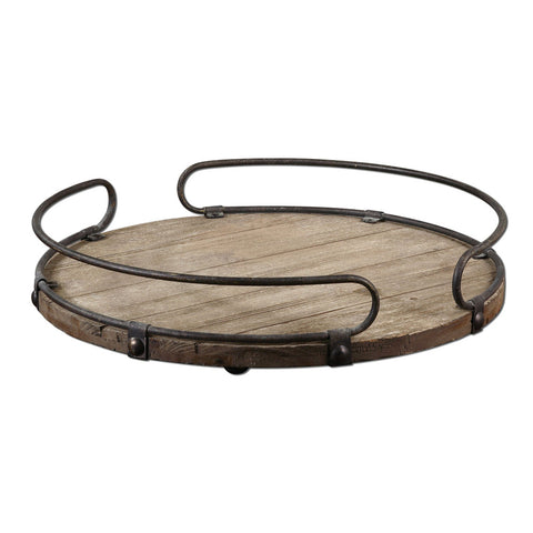 Uttermost Acela Tray w/ Wood Base & Aged Metal Details